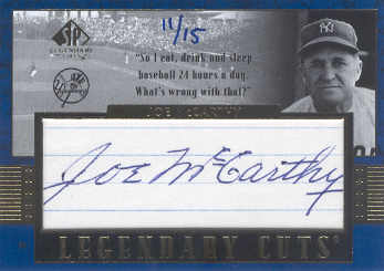 2003 SP Legendary Cuts Autographs Blue #JO Joe McCarthy/15 front image