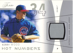 2004 Flair Hot Numbers Game Used Pewter #KW Kerry Wood
