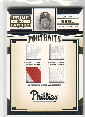 2005 Prime Patches Portraits Quad Swatch Prime #51 Pat Burrell J-J-J-J/50