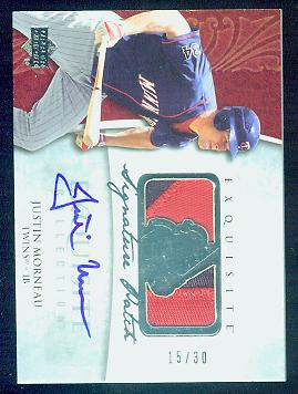 2006 Upper Deck Exquisite Signature Patch #SP-JU Justin Morneau AUTO PATCH #d/30
