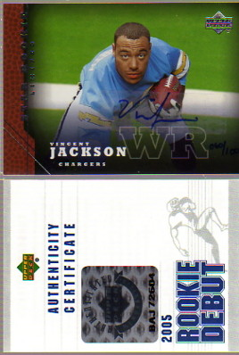 2005 Upper Deck Rookie Predictor Autographs #214 Vincent Jackson/100
