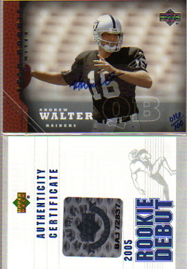 2005 Upper Deck Rookie Predictor Autographs #215 Andrew Walter/100