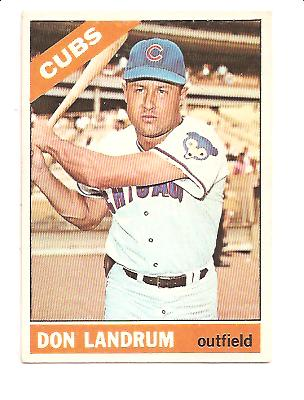 1966 Topps #43A Don Landrum Dark Button on Pant is Showing
