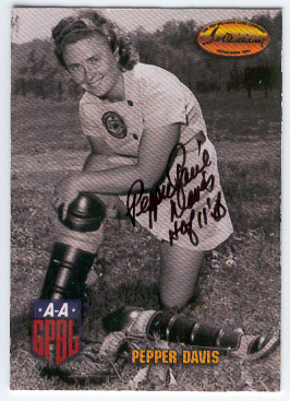 1993 Ted Williams Pepper Davis Autographed Card Grand Rapids Chicks AAGPBL