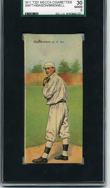 1911 Mecca Double Folders T201 #35 Christy Matthewson/Al Bridwell/UER (Sic Mathewson)