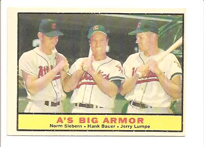 1961 Topps #119 A's Big Armor/Norm Siebern/Hank Bauer/Jerry Lumpe