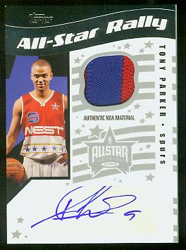 2006-07 Topps Big Game All-Star Rally Relics Patches Autographs #TP Tony Parker