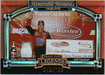 2006 Press Pass Legends Memorable Moments Gold #MM3 Jeff Gordon Charlotte