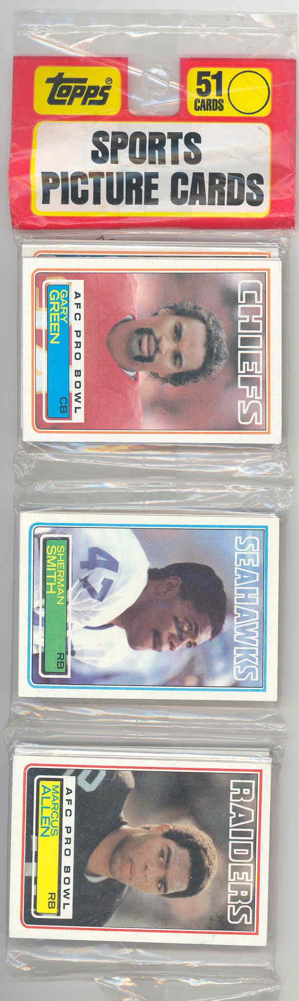 1983 Topps #294 Marcus Allen Raiders Rookie in a Sealed Rack Pack RARE