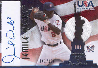 2006-07 USA Baseball Signatures Jersey Blue #1 Jemile Weeks