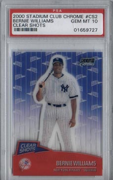 2000 Stadium Club Chrome Baseball # CS2 Bernie Williams Clear Shots PSA Gem Mint 10 RARE!!