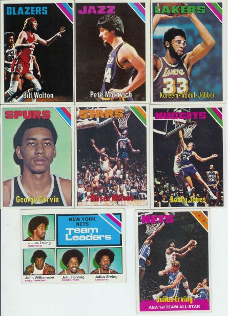 1975-76 Topps Basketball Complete Set (330 Card Set) (Includes Moses Malone & Bobby Jones Rookie Cards + Julius Erving, George Gervin, Kareem, Bill Walton, Pete Maravich & many other Hall of Famers