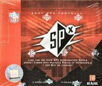 2007 Upper Deck SPX Football Factory Sealed Hobby Box -  Autograph Or Memorabilia Card In Each Pack - 1 Multi Swatch Rookie Auto # Jersey Card ( Poss. Adrian Peterson Brady Quinn ) Per Box - In Stock  front image
