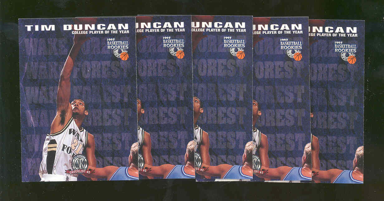 (5) 1997 Score Board Rookies #72 Tim Duncan WAKE FOREST College Spurs Rookie
