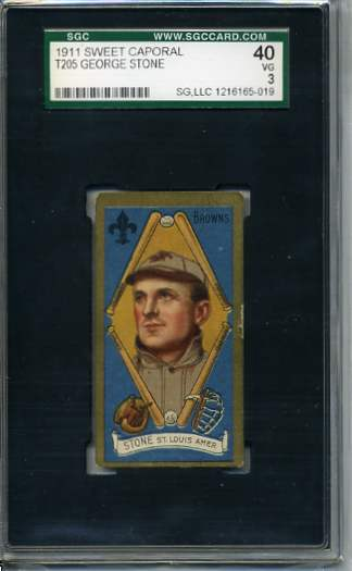 1911 T205 Gold Border #183 George Stone