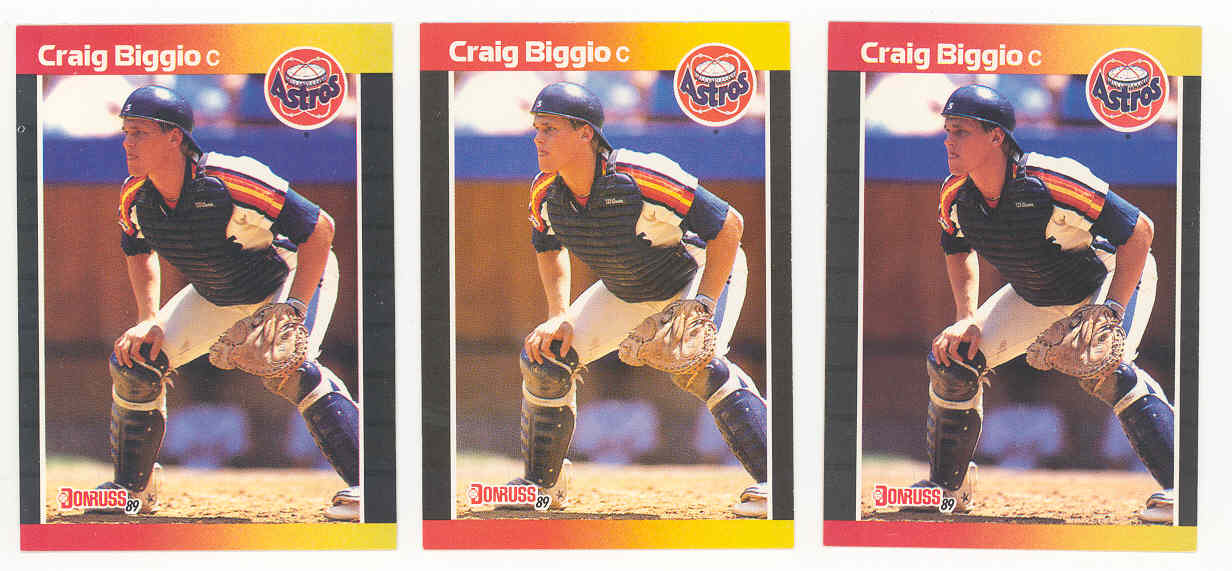(3) 1989 Donruss #561 Craig Biggio Houston Astros Rookie 3000 Hits