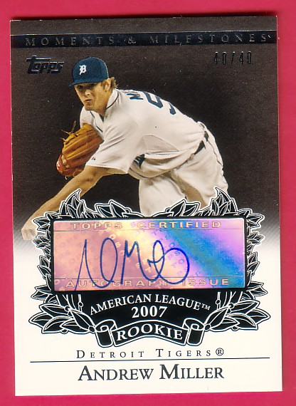 2007 Topps Moments and Milestones Rookie Autographs Black #AM Andrew Miller