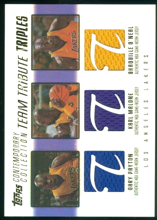 2003-04 Topps Contemporary Collection Team Tribute Triples #PMO Gary Payton/Karl Malone/Shaquille O'Neal