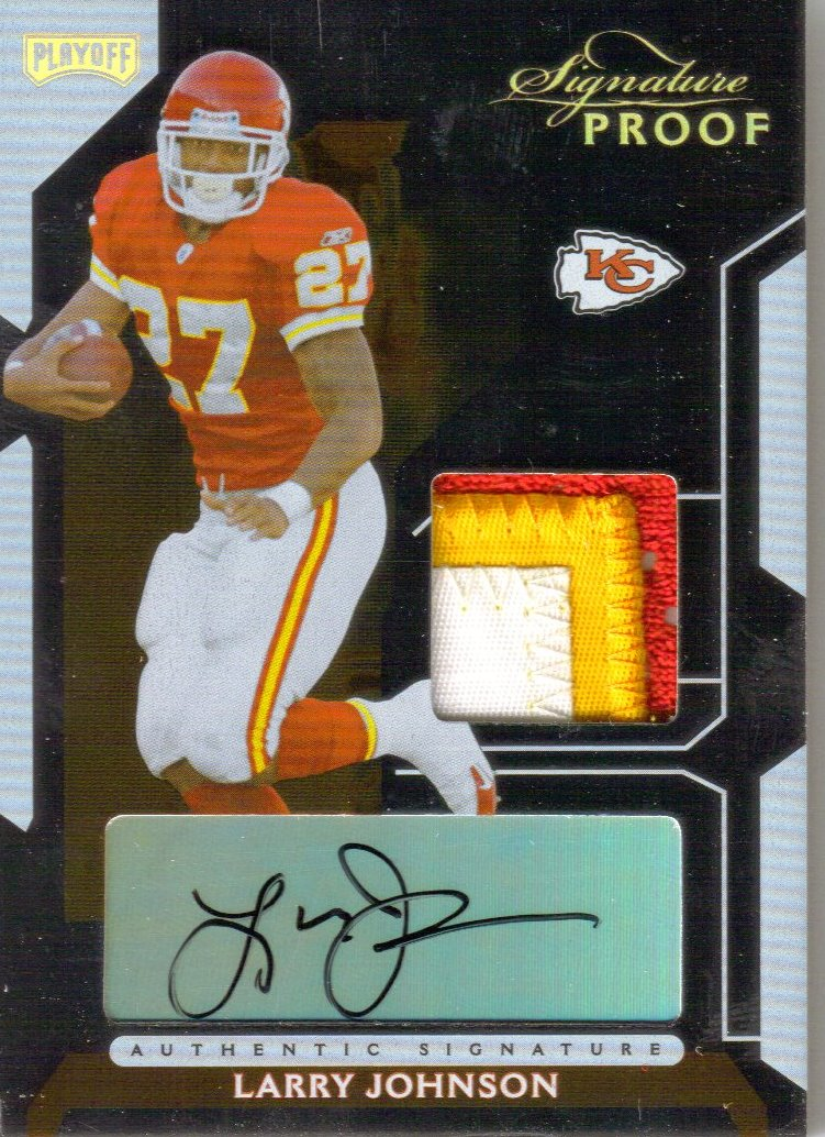 2006 Playoff NFL Playoffs Jersey Signature Proofs Gold #36 Larry Johnson/27