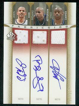 2006-07 SP Authentic Autographed Jerseys Triple #KCJ Jason Kidd/Richard Jefferson/Vince Carter