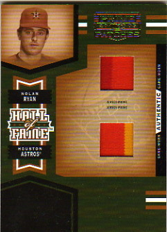 2005 Prime Patches Hall of Fame Materials Double Swatch Prime #1 Nolan Ryan Jsy-Jsy/15