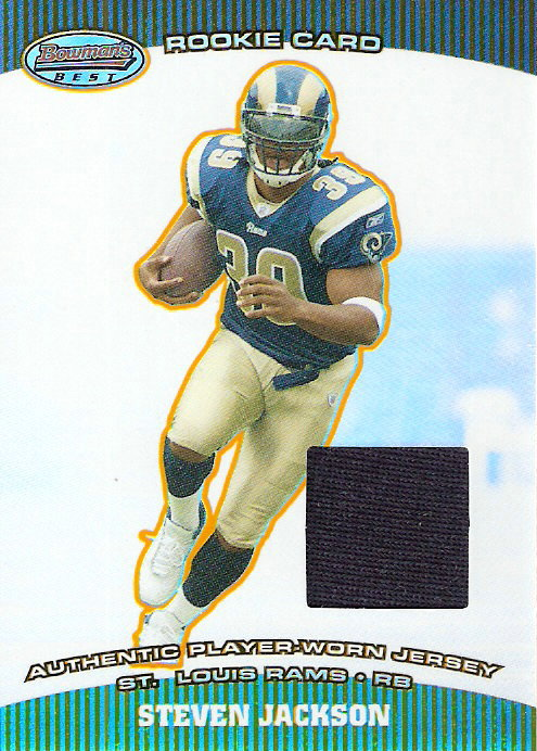 2004 Bowman's Best #115 Steven Jackson JSY RC I