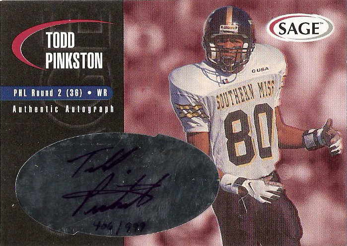 2000 SAGE Autographs Red #A33 Todd Pinkston/999