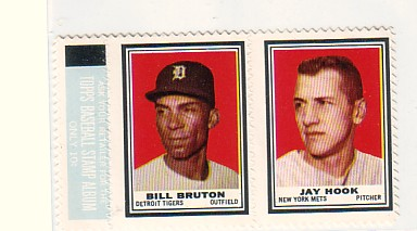 1962 Topps Stamp Panel INTACT Bruton/Hook TIGERS/METS