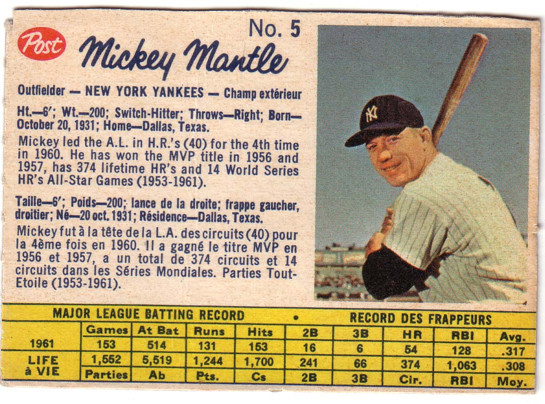 1962 Post Canadian #5 Mickey Mantle front image