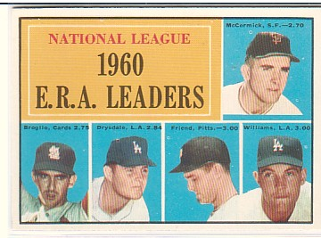 1961 Topps #45 NL ERA Leaders/Mike McCormick/Ernie Broglio/Don Drysdale/Bob Friend/Stan Williams