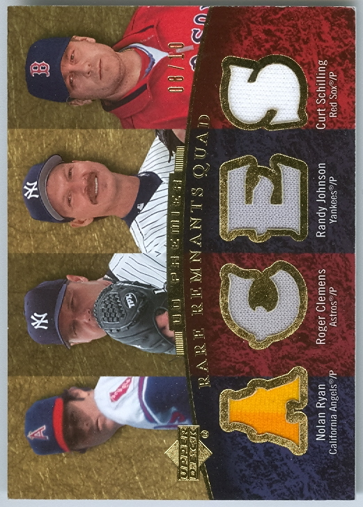 2007 Upper Deck Premier Rare Remnants Quad Gold #4 Nolan Ryan/Roger Clemens/Randy Johnson/Curt Schilling