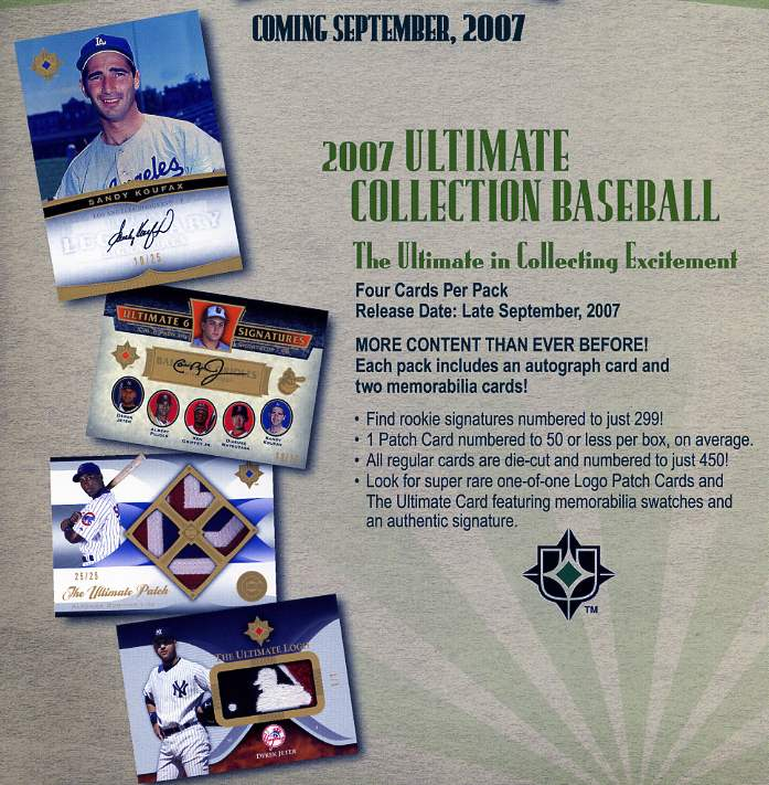  2007 Upper Deck Ultimate Collection Baseball Factory Sealed Hobby PACK (1 Autograph & 2 Memorabilia Cards in EVERY Pack)  