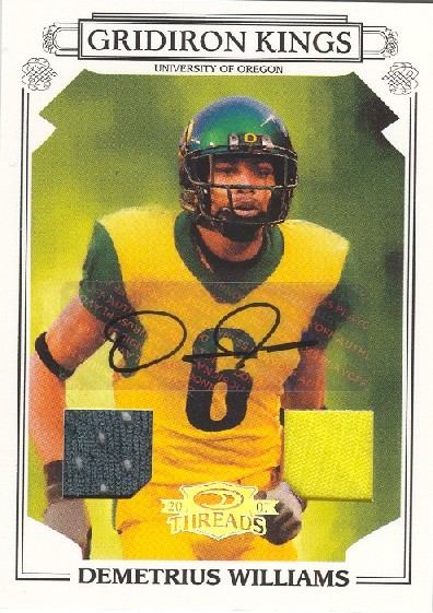 2007 Donruss Threads College Gridiron Kings Material Autographs #32 Demetrius Williams