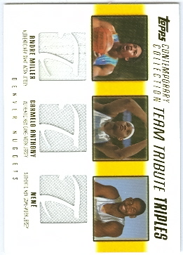 2003-04 Topps Contemporary Collection Team Tribute Triples #MAN Andre Miller/Carmelo Anthony/Nene
