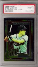 1994 Finest #1 Greg Maddux Rookie Of The Year PSA Mint 9 NICE!!