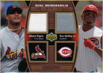 2007 Upper Deck Elements Dual Elements Dual Memorabilia #PG Albert Pujols/Ken Griffey Jr.