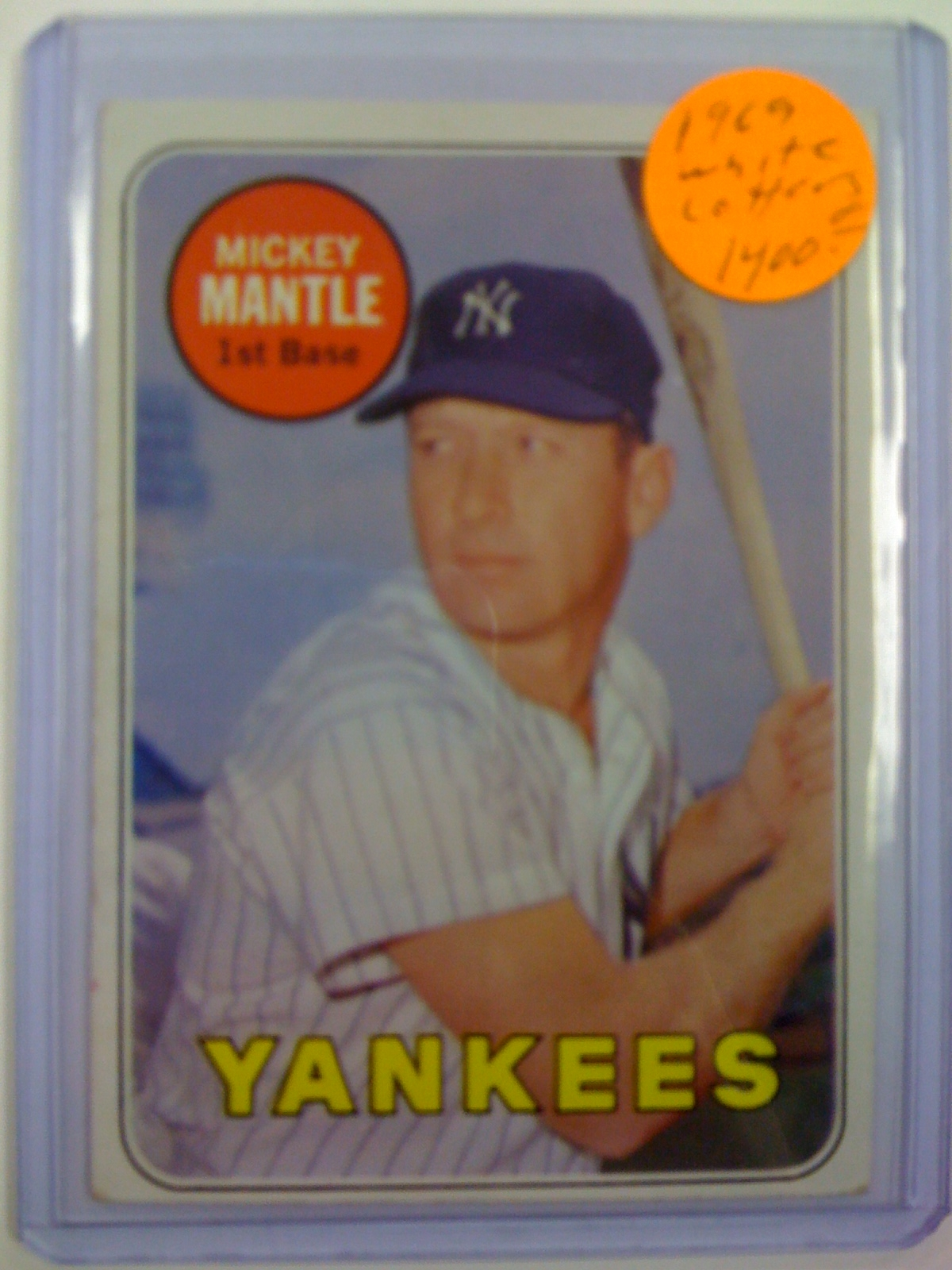 1969 Topps #500B Mickey Mantle White Letters (Mantle) UER (NO Topps Copyright on Back)