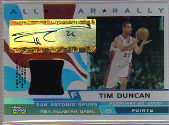 2005-06 Topps Big Game All-Star Rally Relics Autographs #TD Tim Duncan Shirt/111