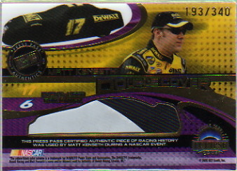 2005 Press Pass Eclipse Under Cover Double Cover #DC7 Matt Kenseth / Mark Martin Dual Event-Used Card Covers Card Serial #193/340