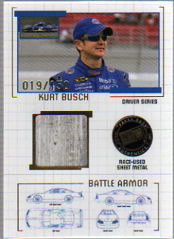 2007 Press Pass Stealth Battle Armor Drivers #BAD11 Kurt Busch Race-Used Sheet Metal Card Serial #019/150  