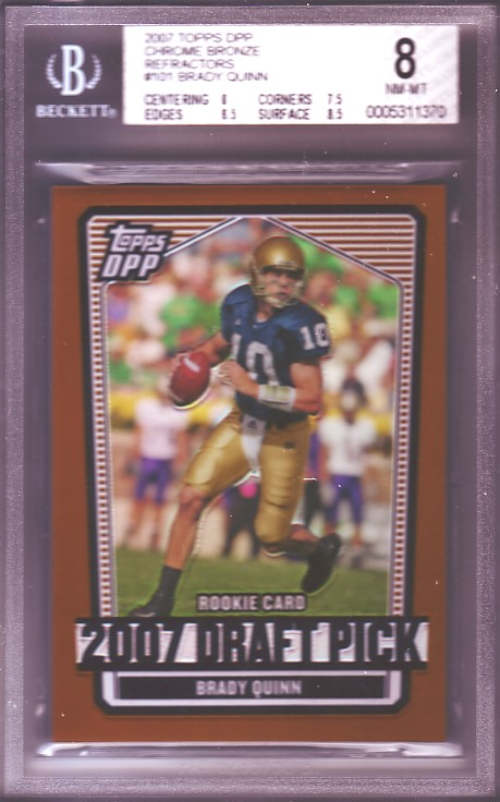 2007 Topps Draft Picks and Prospects Chrome Bronze Refractors #101 Brady Quinn #163/250 RC ROOKIE BGS-8.0 NM-MT