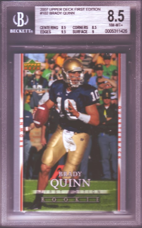2007 Upper Deck First Edition #102 Brady Quinn RC ROOKIE BGS-8.5 NM-MT+