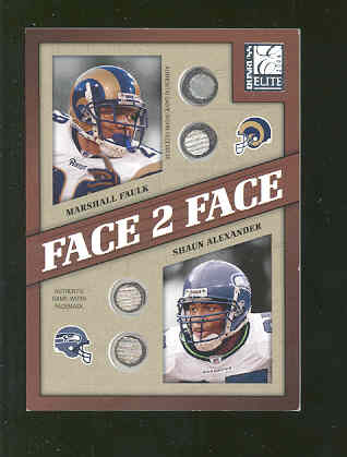 2004 Donruss Elite Face to Face Face Masks #FF8 Marshall Faulk/Shaun Alexander