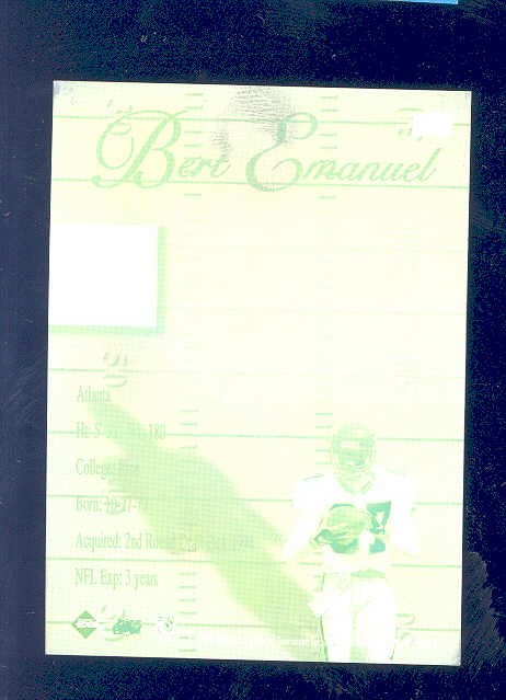 1997 Collector's Edge Printing Plate Green 1/1 Bert Emanuael Falcons