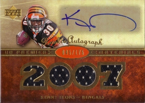 2007 Upper Deck Premier Rookie Autographed Materials Gold #153 Kenny Irons