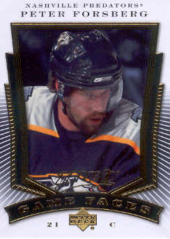 2007-08 Upper Deck MVP Game Faces #GF5 Peter Forsberg