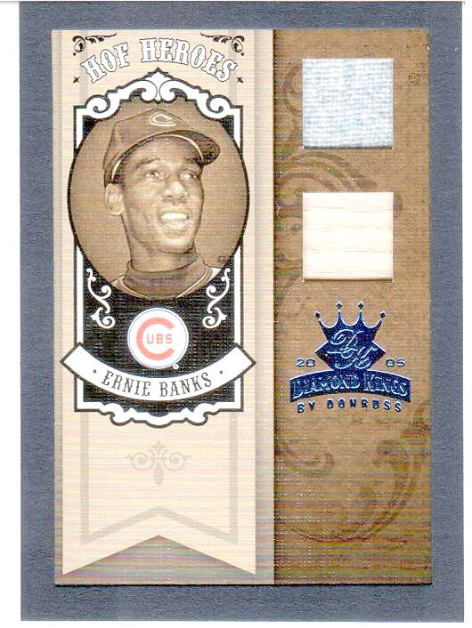 2005 Diamond Kings HOF Heroes Materials Framed Blue #81 Ernie Banks Bat-Jsy/25