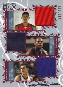 2006-07 Topps Luxury Box Courtside Relics Triple #ORB Patrick O'Bryant/Jason Richardson/Andris Biedrins
