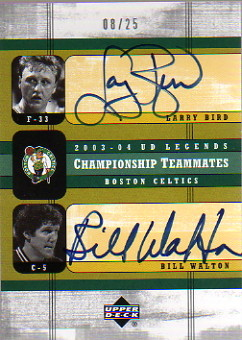 2003-04 Upper Deck Legends Championship Teammates Dual Autographs #BW Larry Bird/Bill Walton