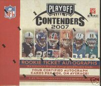 3 BOX LOT : 2007 Playoff Contenders Football Factory Sealed Hobby Box - 4 AUTOGRAPHS ( Possible Adrian Peterson Brady Quinn ) Per Box On Avg. - In Stock Now  front image